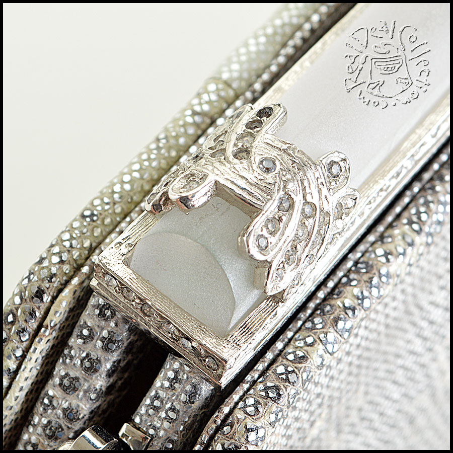 Judith Leiber Silver Ring Lizard Evening Bag closeup1