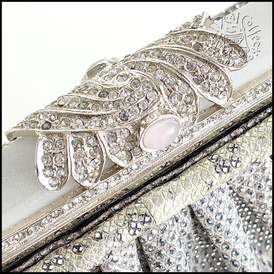 Judith Leiber Silver Ring Lizard Evening Bag closeup2