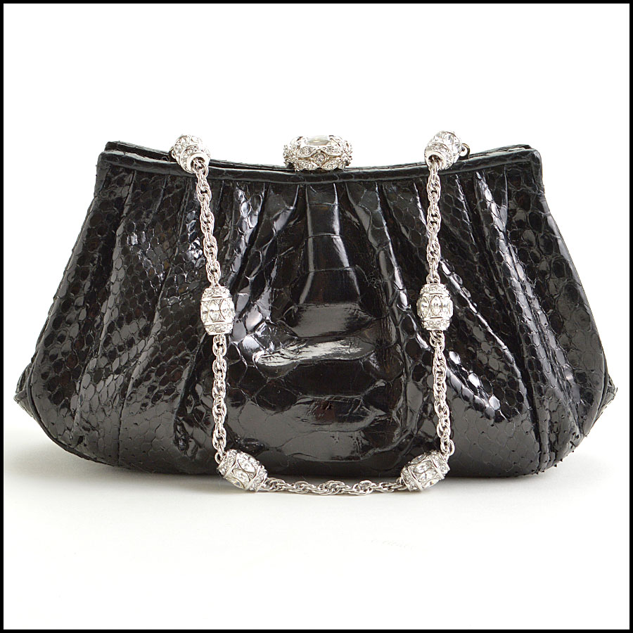 RDC8878 Judith Leiber Black Python and Crystal Clasp Evening Bag