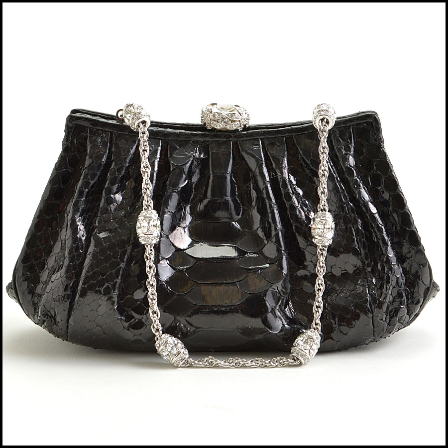 RDC8878 Judith Leiber Black Python and Crystal Clasp Evening Bag back