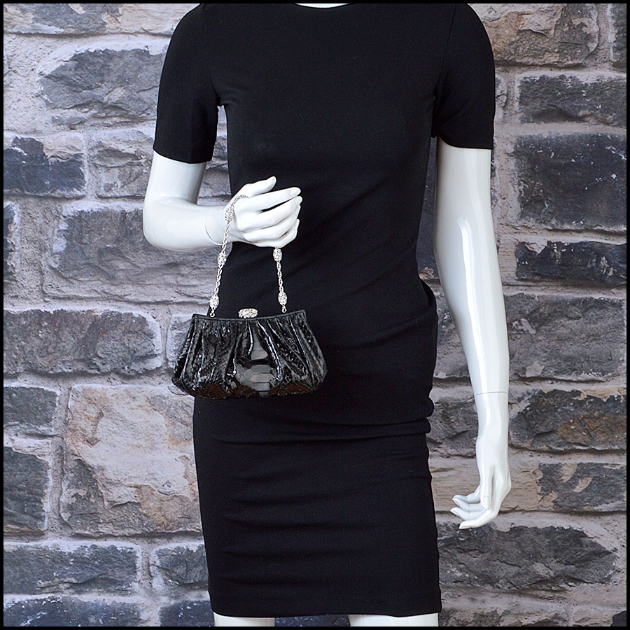 RDC8878 Judith Leiber Black Python and Crystal Clasp Evening Bag model