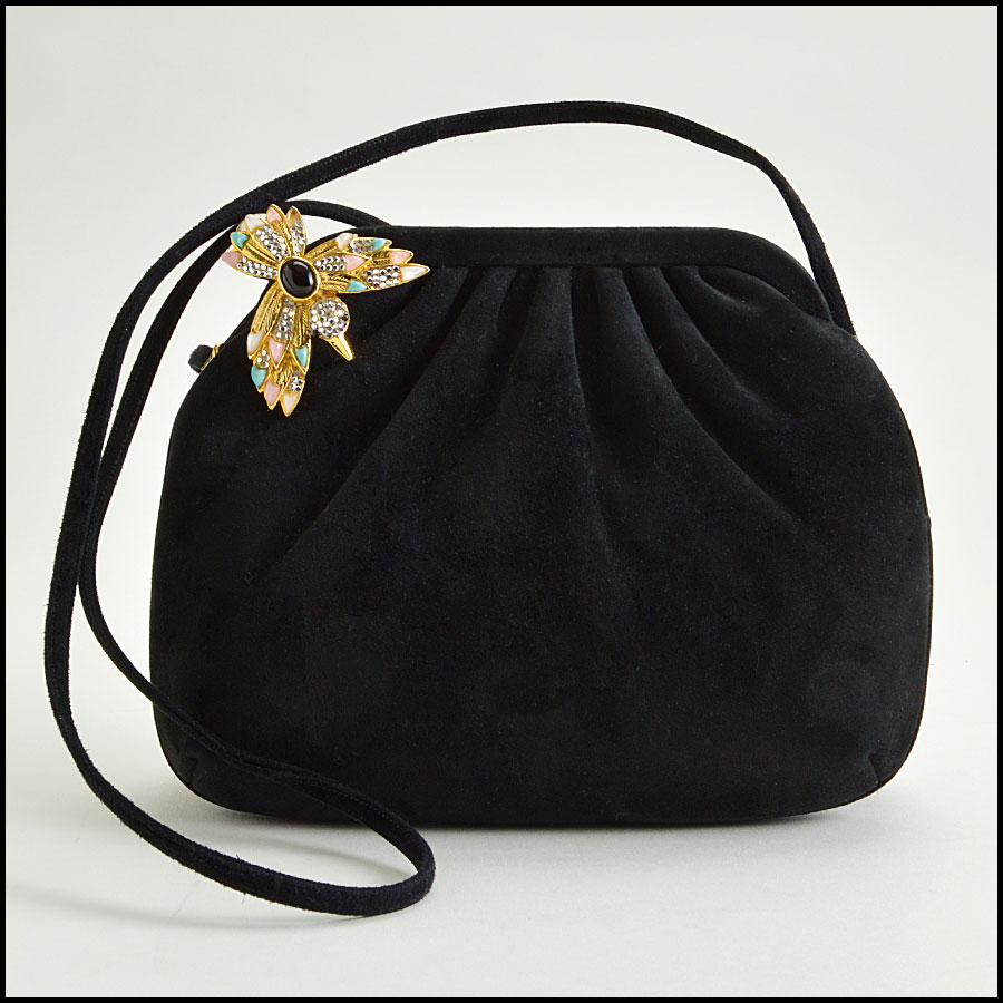 RDC8591 Judith Leiber Black Suede Crystal Bird Evening Bag
