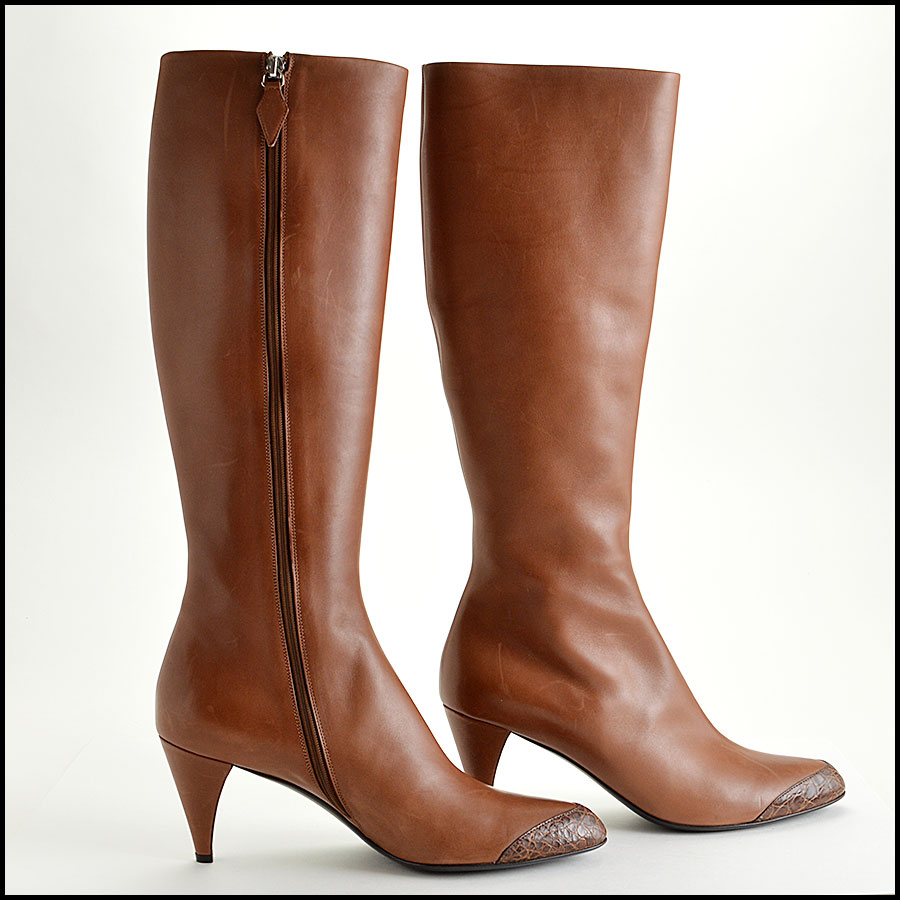 RDC7715 Jil Sander Knee High Cap Toe Boots Side
