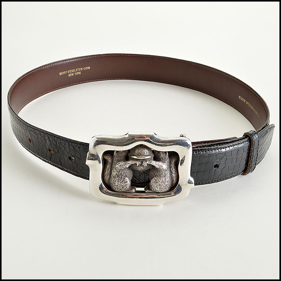 RDC7747 Kieselstein-Cord Alligator Belt with Squirrels and Acron Silver Buckle