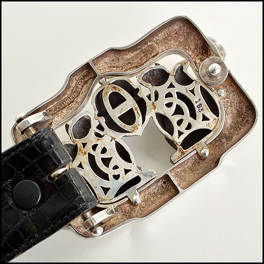 RDC7747 Kieselstein-Cord Alligator Belt with Squirrels and Acron Silver Buckle  back