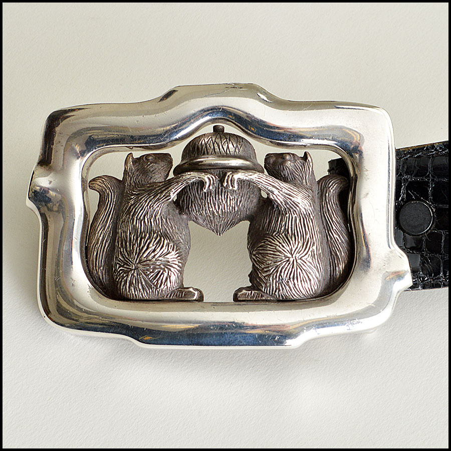 RDC7747 Kieselstein-Cord Alligator Belt with Squirrels and Acron Silver Buckle  Closeup
