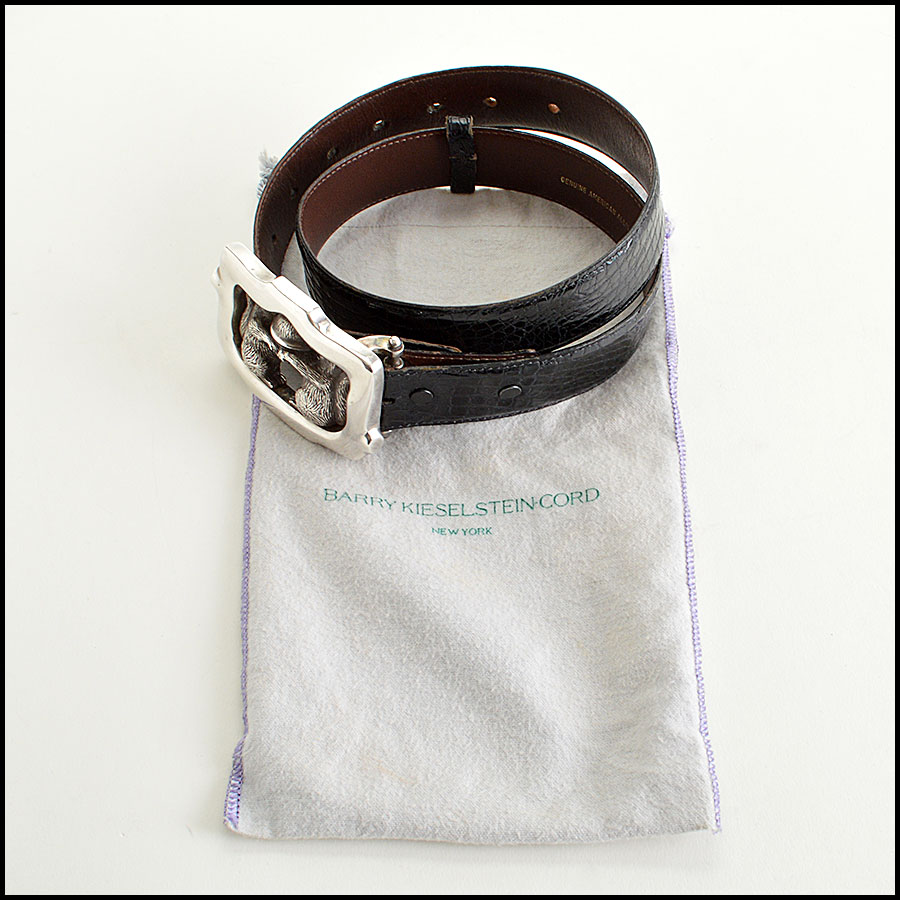 RDC7747 Kieselstein-Cord Alligator Belt with Squirrels and Acron Silver Buckle  comes with