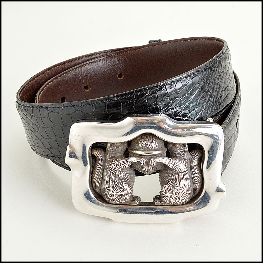 RDC7747 Kieselstein-Cord Alligator Belt with Squirrels and Acron Silver Buckle  front
