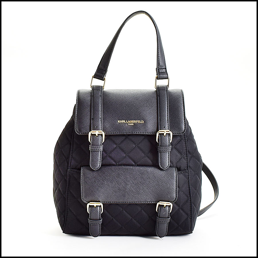 RDC9686 Karl Lagerfeld Black Quilted Nylon & Saffiano Leather Backpack