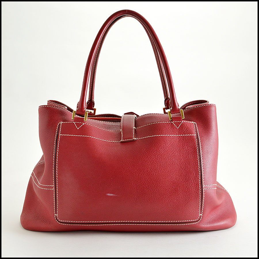 RDC8155 Loro Piana Red Giant Satchel Hand bag back
