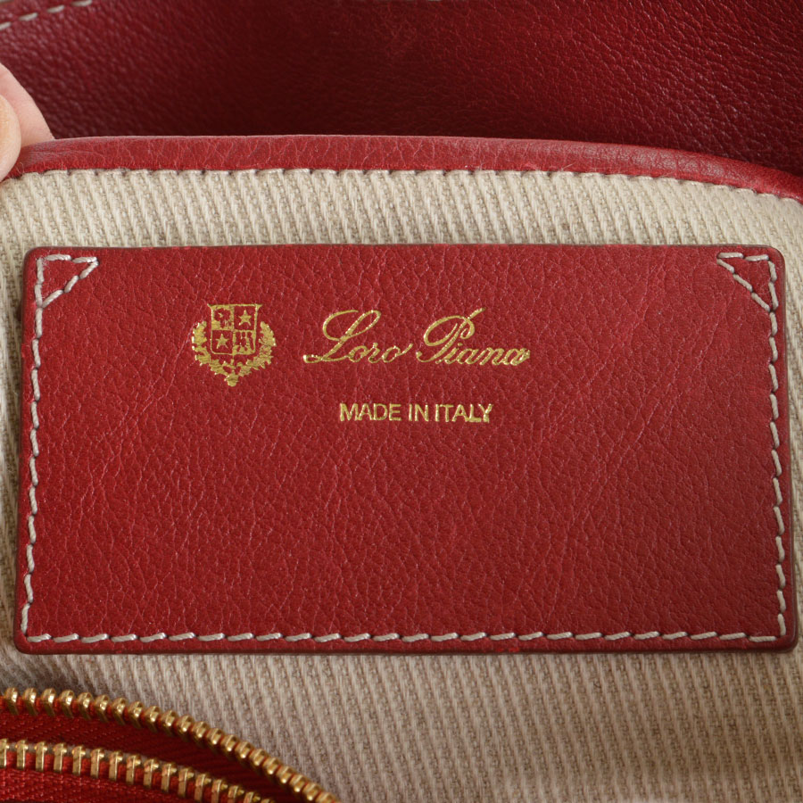 RDC8155 Loro Piana Red Giant Satchel Hand bag tag one