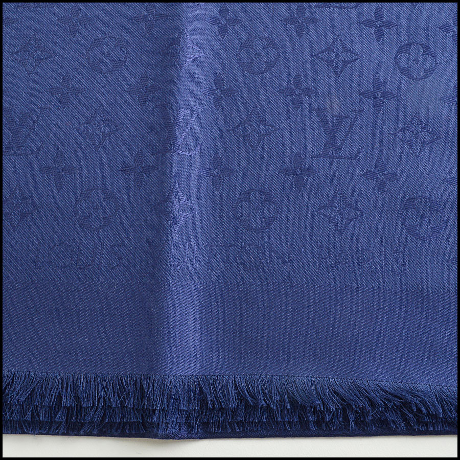 RDC8556 Louis Vuitton LV Monogram Night Blue Shawl logo