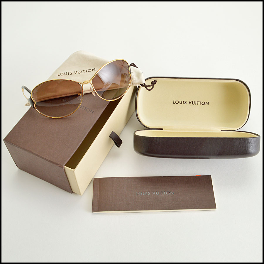 RDC8384 Louis Vuitton brown and gold daisy sunglasses extras