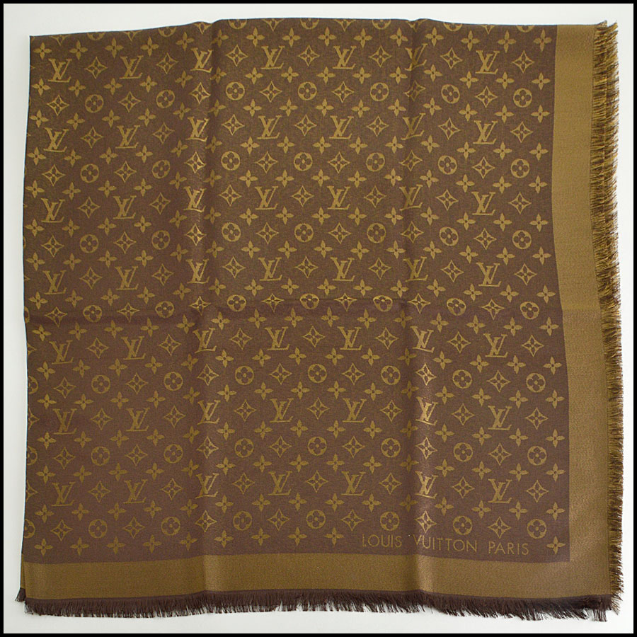 RDC8406 Louis Vuitton LV Monogram Brown Shine Shawl