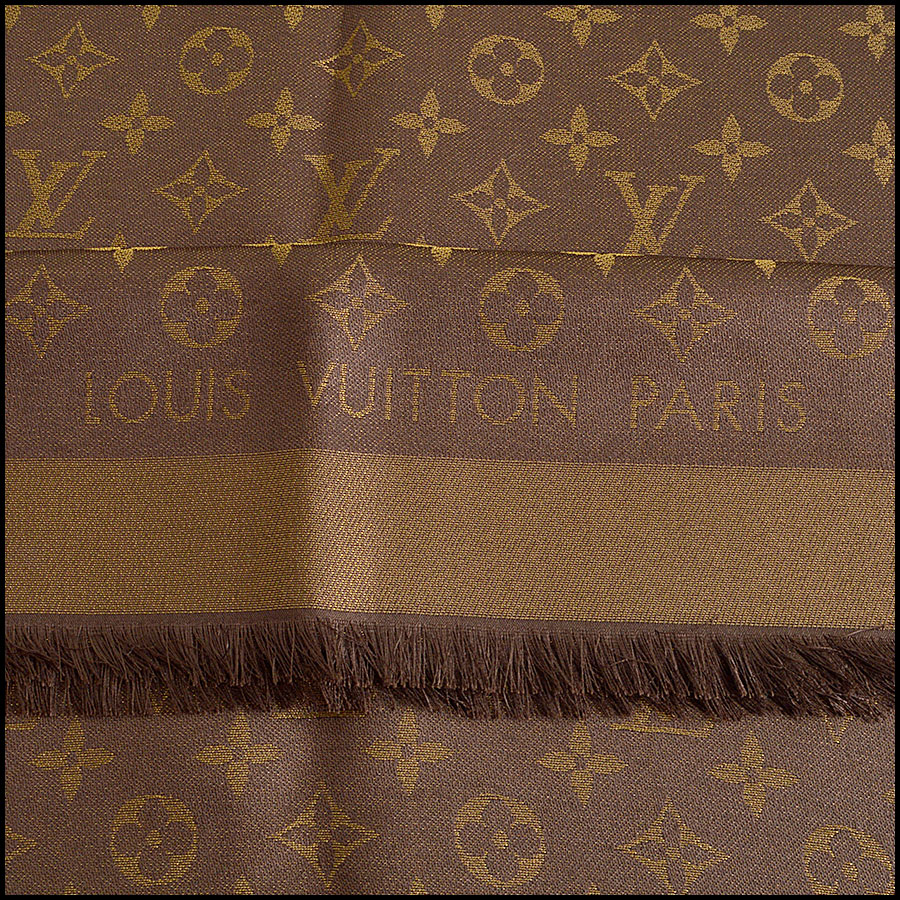 RDC8406 Louis Vuitton LV Monogram Brown Shine Shawl tag
