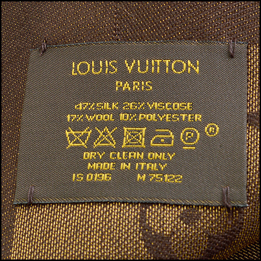 RDC8406 Louis Vuitton LV Monogram Brown Shine Shawl Care Tag