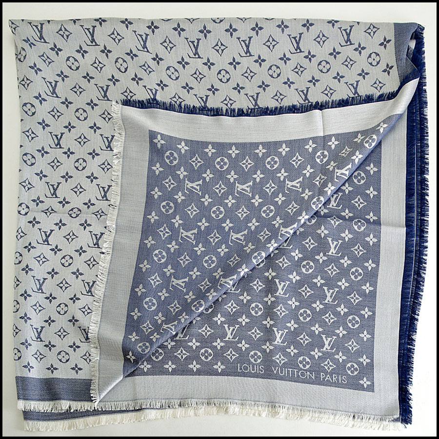 RDC8372 Louis Vuitton Denim Blue and Ivory Shawl