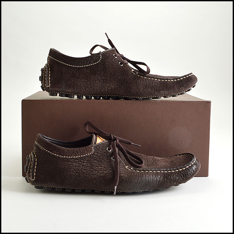RDC8639 Size 9.5 Louis Vuitton Brown Suede Driving Moccasins side