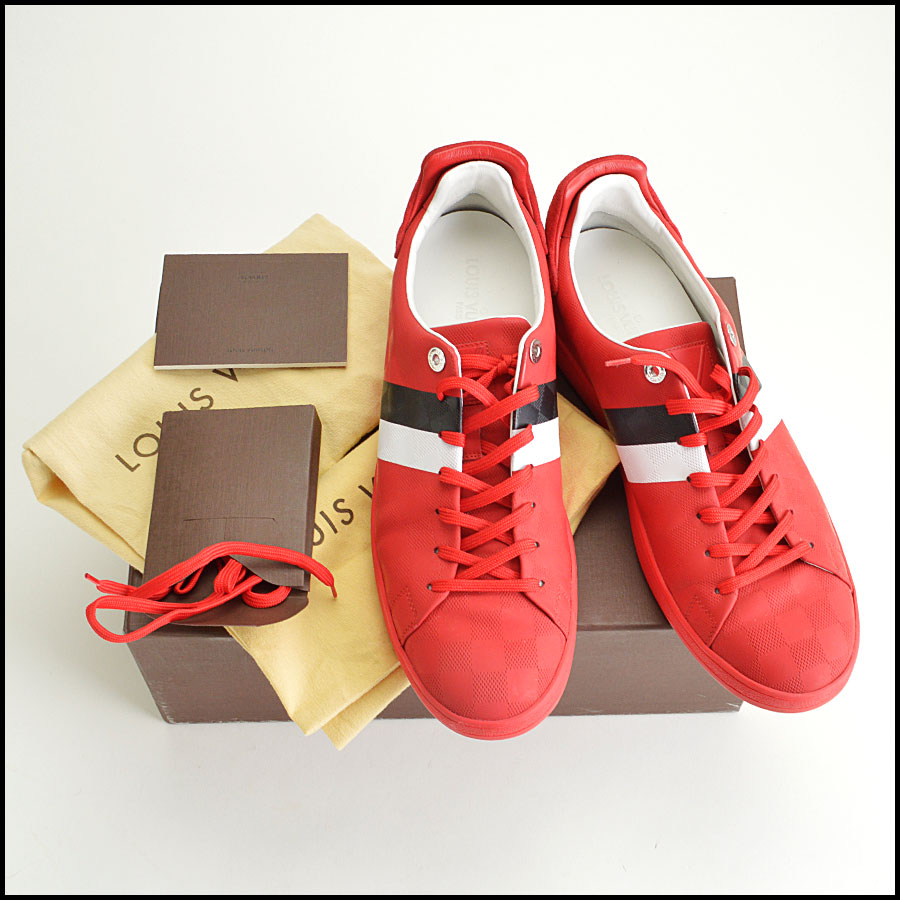 RDC8564 Louis Vuitton Red Damier Sneakers includes