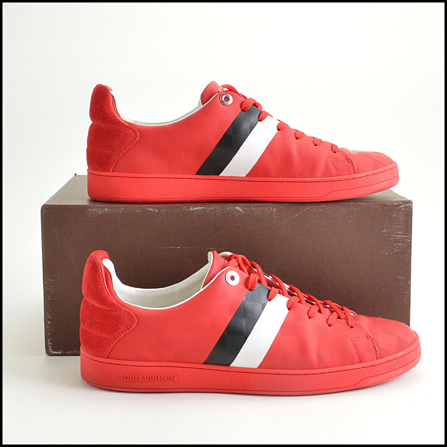 RDC8564 Louis Vuitton Red Damier Sneakers side