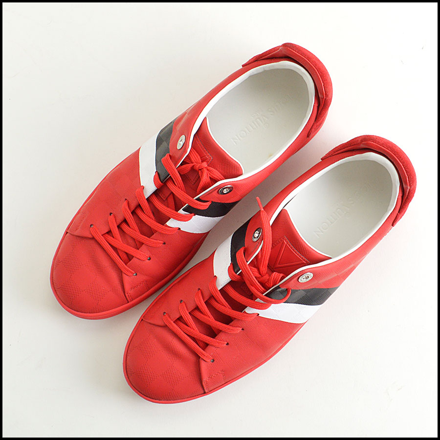 RDC8564 Louis Vuitton Red Damier Sneakers top