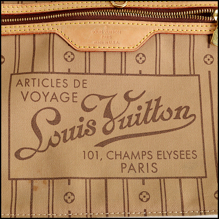 RDC7862 Louis Vuitton LV Monogram Canvas Neverfull MM Tote tag two