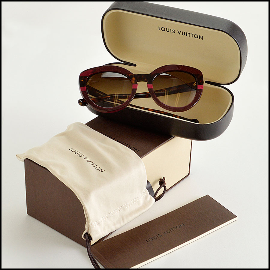 RDC8204 Louis Vuitton Shimmer Peony Stripe and Tortoise Sunglasses extras