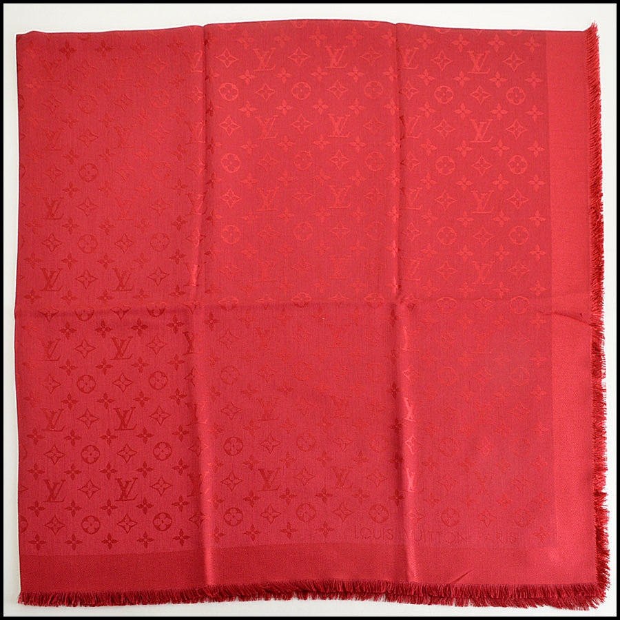 Louis Vuitton Red Monogram Shawl Authentic