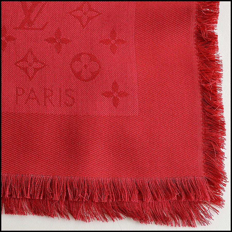 Louis Vuitton Red Monogram Shawl Authentic Closeup