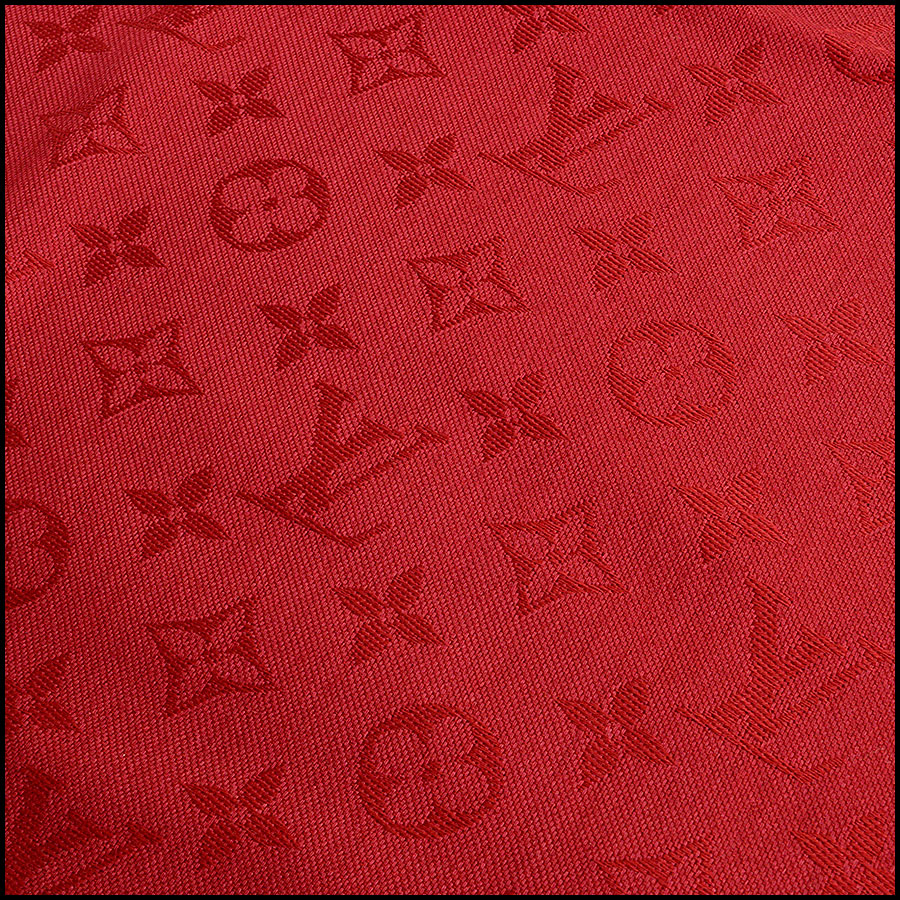 Louis Vuitton Red Monogram Shawl detail