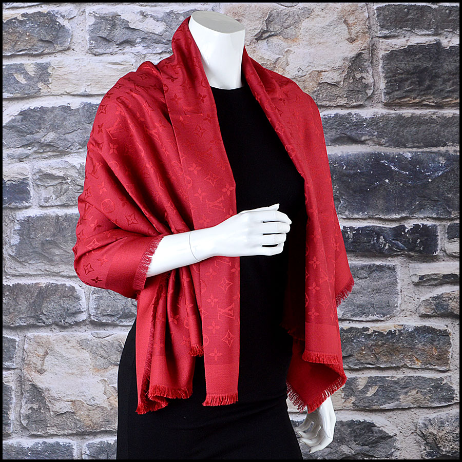 Louis Vuitton Red Monogram Shawl mannequin