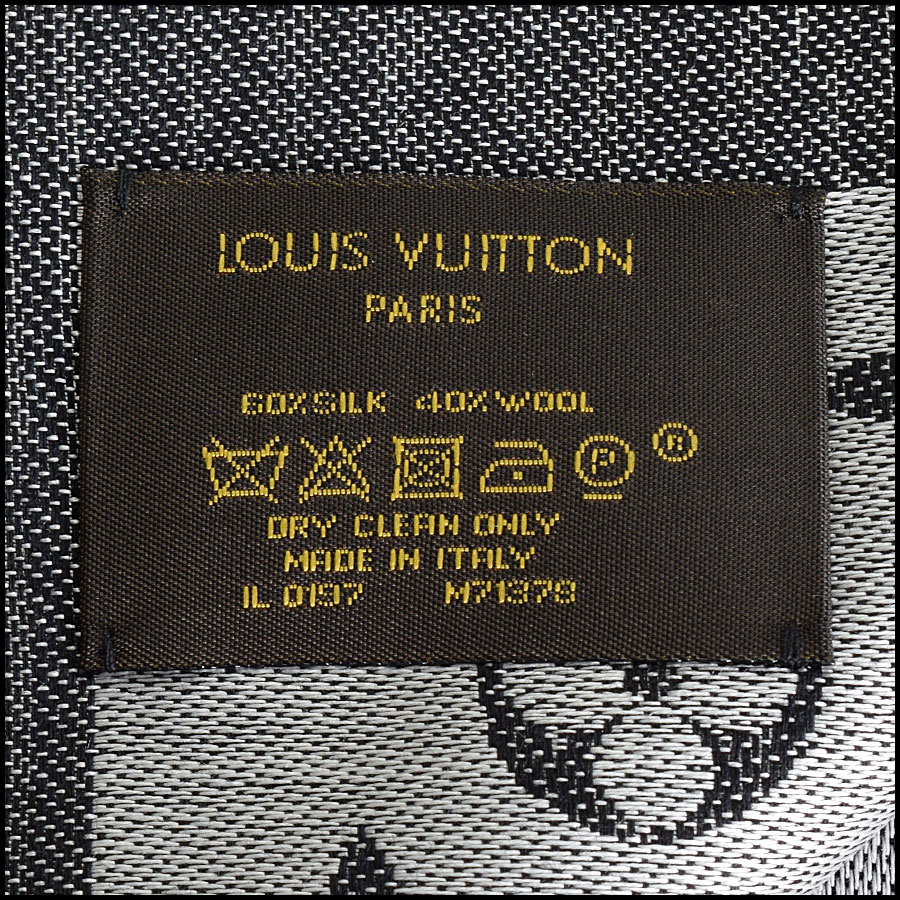 RDC9176 Louis Vuitton Black LV Monogram Shawl tag
