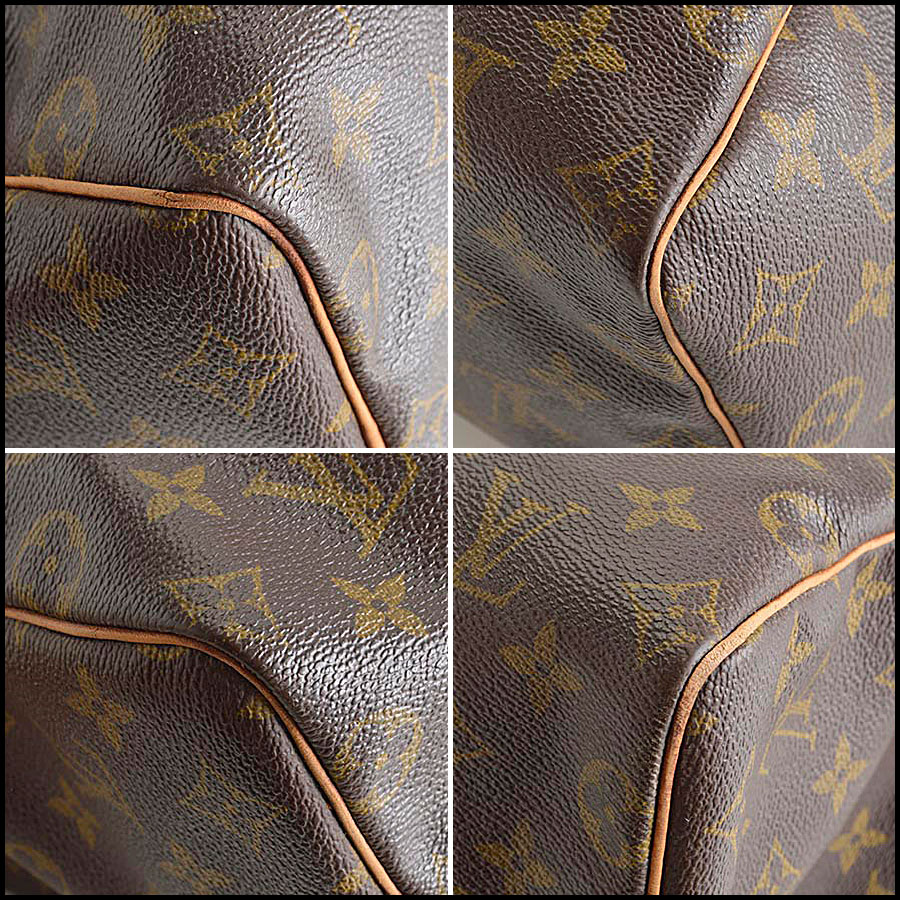 RDC8210 Louis Vuitton Monogram Canvas Leather Speedy 25cm Satchel four corners