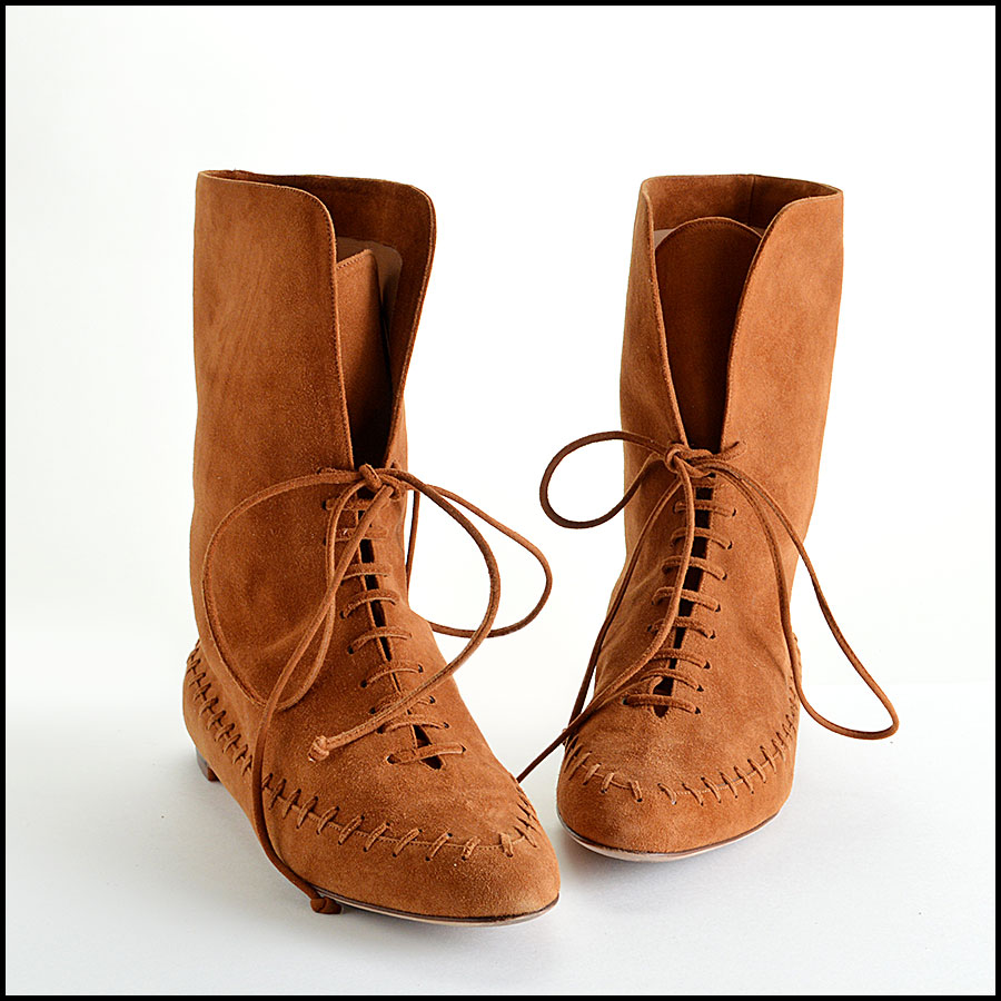 Manolo Blahnik Brown Suede Moccasin Booties Boots