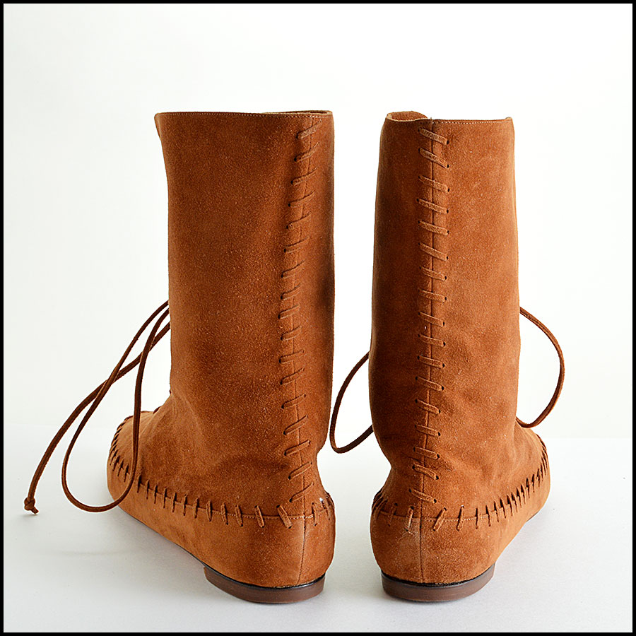 Manolo Blahnik Brown Suede Moccasin Booties Boots back