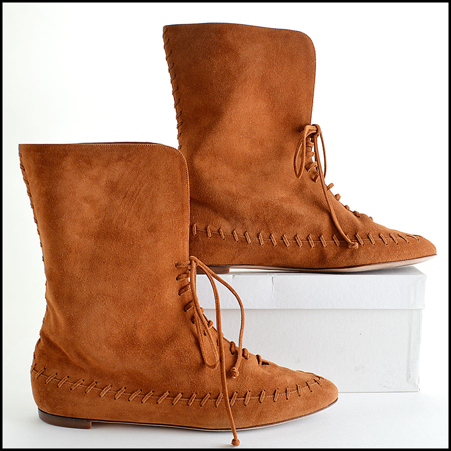 Manolo Blahnik Brown Suede Moccasin Booties Boots Side