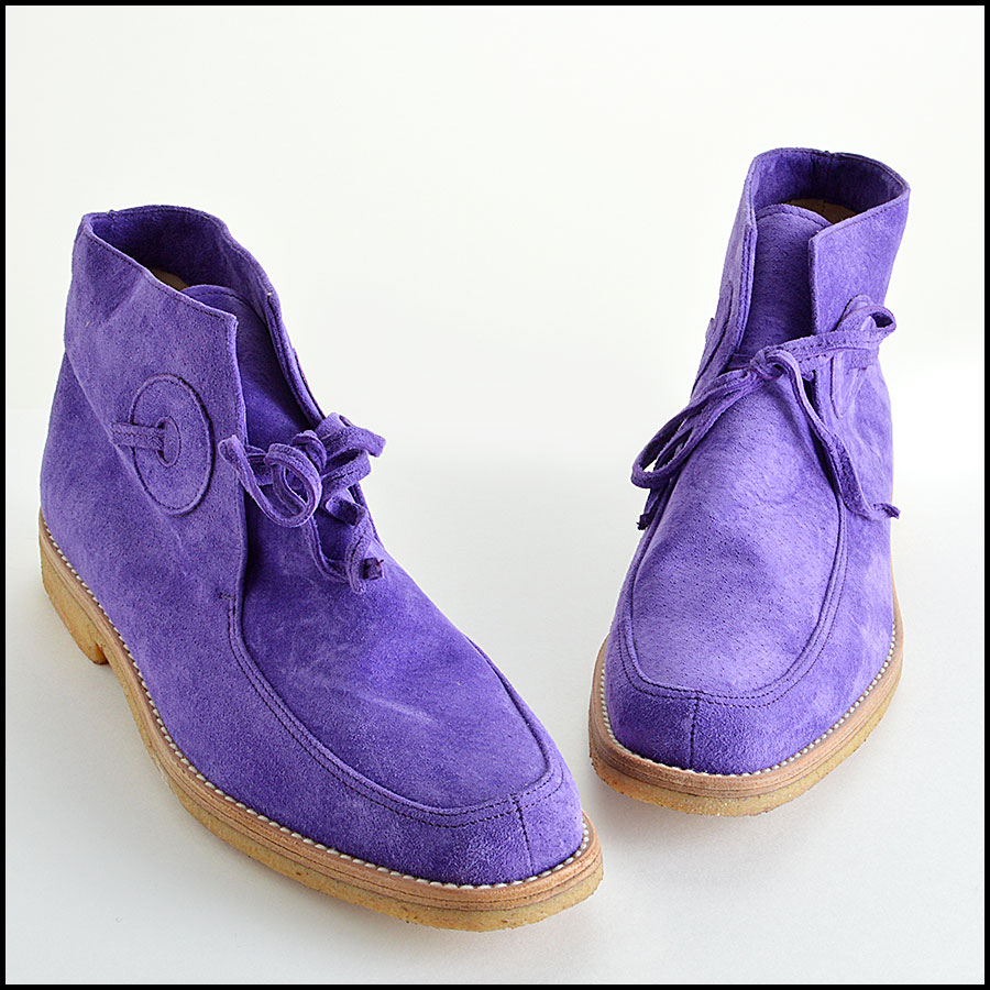 Manolo Blahnik Violet Suede Leather Chukka Boots Booties