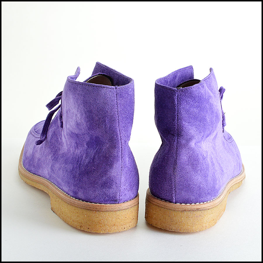 Manolo Blahnik Violet Suede Leather Chukka Boots Booties back