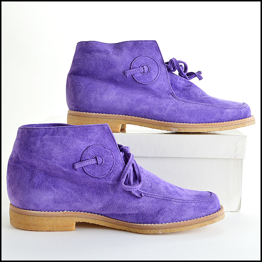 Manolo Blahnick Violet Suede Leather Chukka Boots Booties side