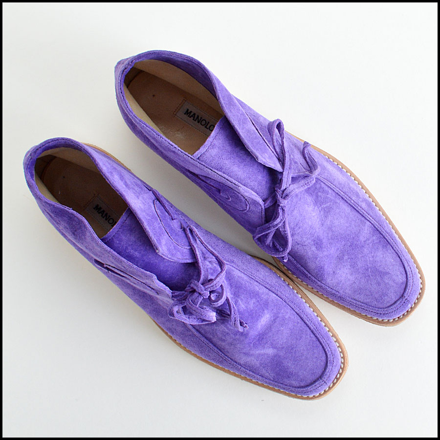 Manolo Blahnik Violet Suede Leather Chukka Boots Booties top