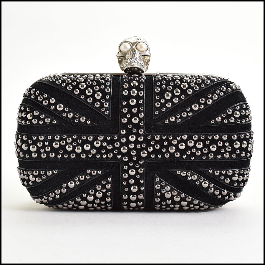 RDC9571 Alexander McQueen Black Studded Union Jack Clutch