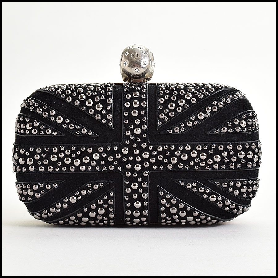 RDC9571 Alexander McQueen Black Studded Union Jack Clutch back