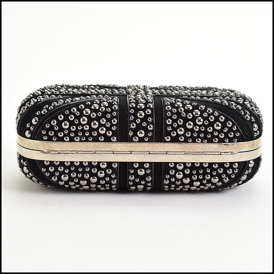 RDC9571 Alexander McQueen Black Studded Union Jack Clutch bottom