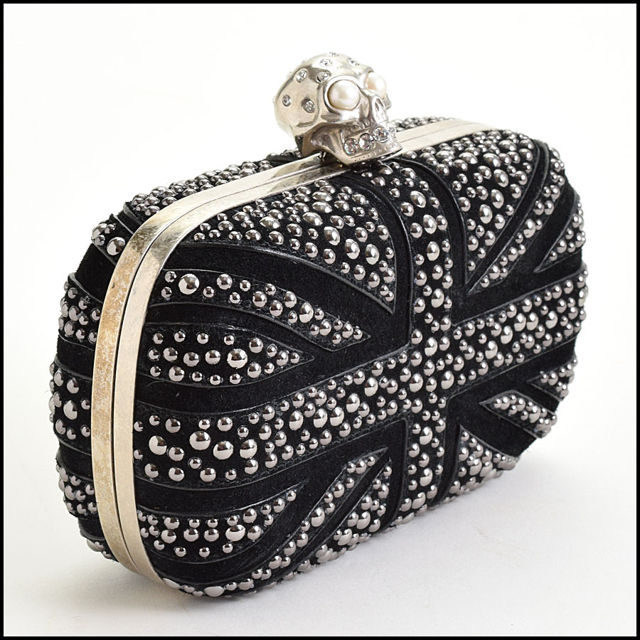 RDC9571 Alexander McQueen Black Studded Union Jack Clutch side