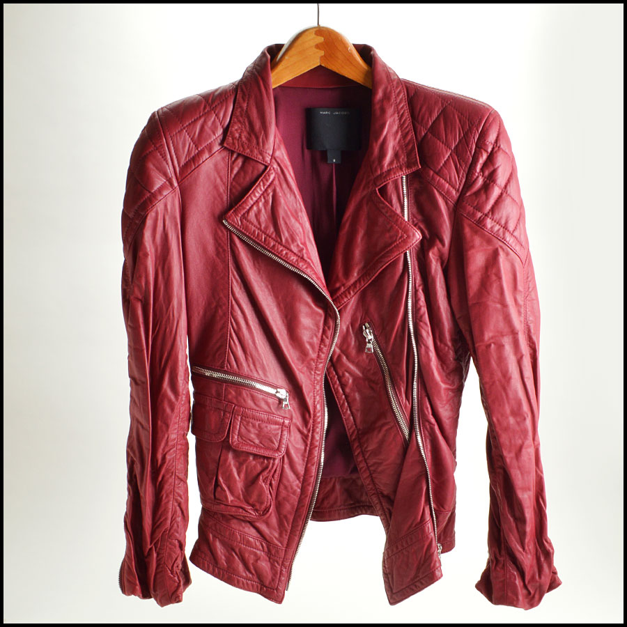 RDC8532 Marc Jacobs Red Leather Open Zipper Jacket