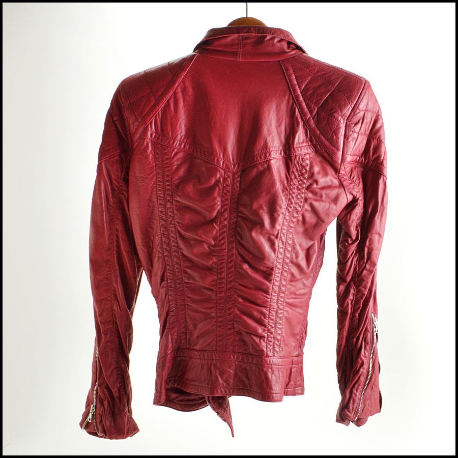 RDC8532 Marc Jacobs Red Leather Open Zipper Jacket back