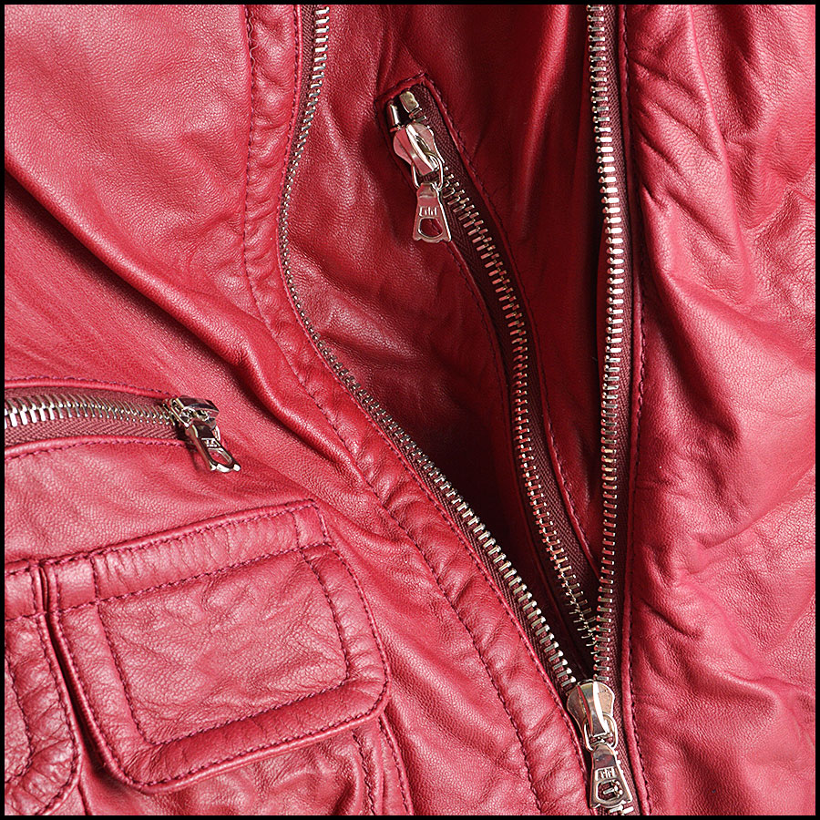 RDC8532 Marc Jacobs Red Leather Open Zipper Jacket close up
