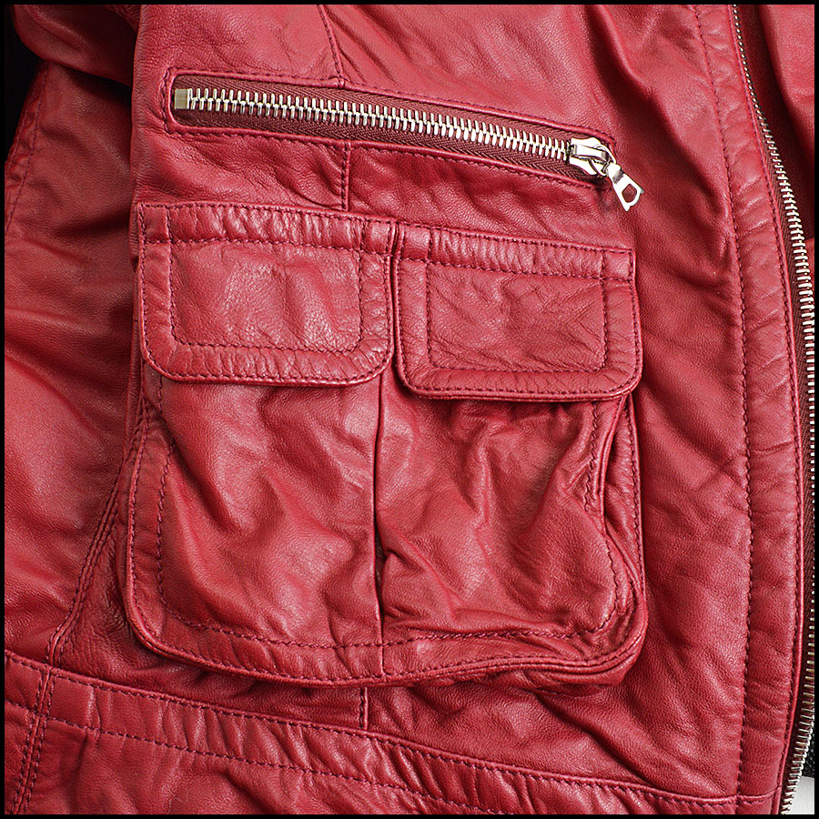 RDC8532 Marc Jacobs Red Leather Open Zipper Jacket close up 2
