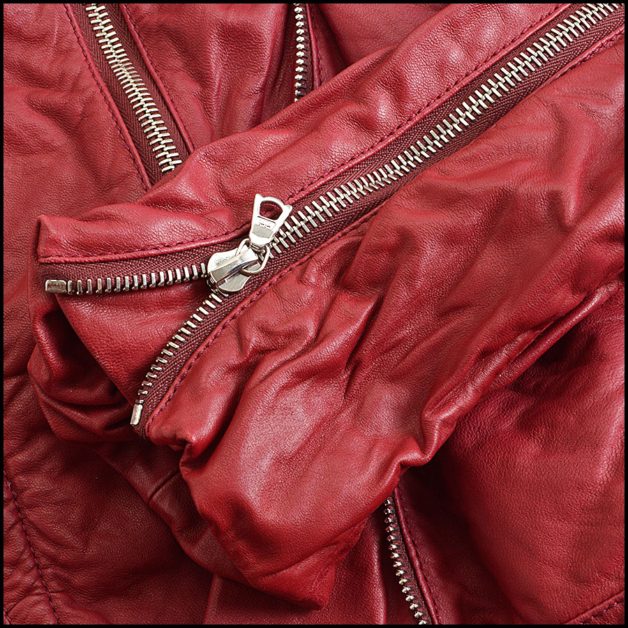 RDC8532 Marc Jacobs Red Leather Open Zipper Jacket close up 3