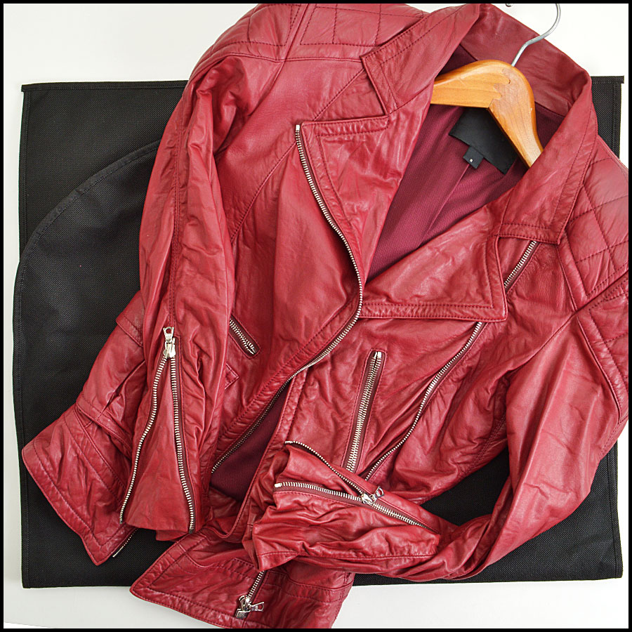 RDC8532 Marc Jacobs Red Leather Open Zipper Jacket includes